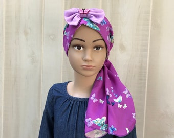 Child's Pre-Tied Head Scarf, Girl's Chemo Hat, Cancer Head Cover, Alopecia Headwear, Head Wrap, Cancer Gift, Hair Loss, Purple Butterflies