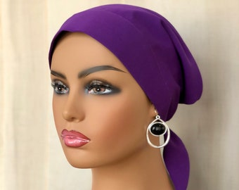 Head Scarf For Women With Hair Loss, Cancer Gifts, Purple Head Wrap