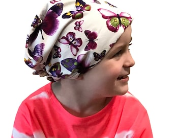 Children's Head Scarf, Girl's Chemo Hat, Cancer Headwear, Alopecia Head Cover, Head Wrap, Cancer Gift for Hair Loss Gift, Purple Butterflies