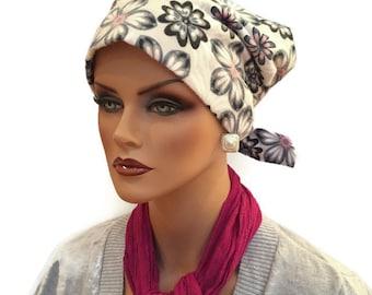 Krystal Women's Flannel Head Scarf, Cancer Hat, Chemo Scarf, Alopecia Headwear, Head Wrap, Head Cover for Hair Loss - Gray Floral