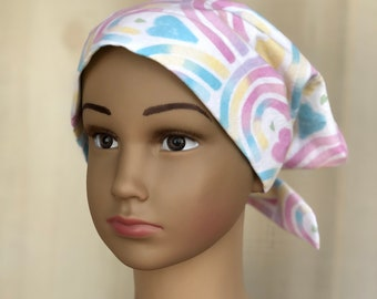 Kid's Chemo Hat For Girls With Hair Loss, Childhood Cancer, Cancer Gifts, Pastel Rainbows