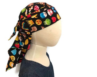 Jenna's Women and Girl's Doo Rag, Reversible Bandana, Chemo Hat, Cancer Headwear, Alopecia Scarf, Head Cover, Hair Loss, Cancer Gift, Emojis
