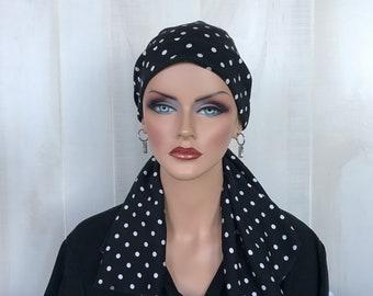 Pre-Tied Head Scarf For Women With Hair Loss. Cancer Headwear, Chemo Hat, Alopecia Head Cover, Hair Wrap, Head Wrap, Turban, Black White Dot