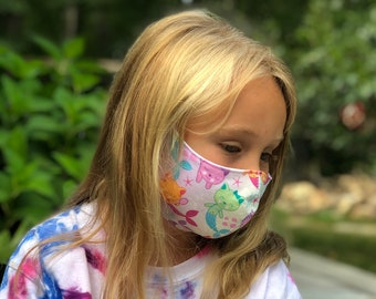 Washable Face Mask, Ages 5 - 12, Adjustable Elastic, Reusable Face Covering, Child Sizes, Mermaid Kitties