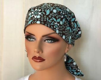 Women's  Scrub Cap, Scrub Hat, Cancer Head Scarf, Chemo Headwear, Alopecia Head Cover, Head Wrap, Cancer Gift, Brown Blue Flowers