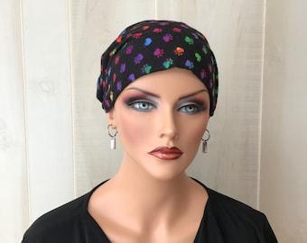 Women's Flannel Head Scarf, Cancer Headwear, Chemo Hat, Alopecia Head Cover, Head Wrap, Turban, Hair Loss, Cancer Gift, Black Paws