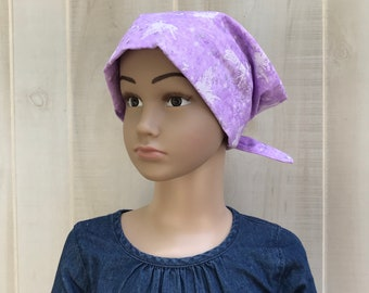 Child's Head Scarf, Girl's Chemo Hat, Cancer Headwear, Alopecia Head Cover, Head Wrap, Cancer Gift for Hair Loss Gift, Light Purple Fairies