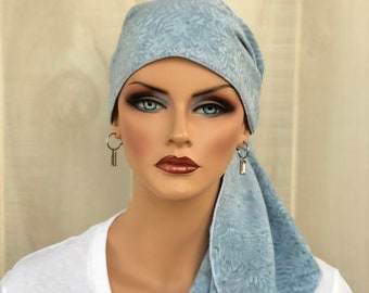 Pre-Tied Head Scarf For Women With Hair Loss, Cancer Gifts, Chemo Headwear, Headwrap, Slate Blue Tie Dye Ferns