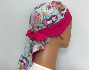 Jenna's Doo Rag - A Reversible Bandana,  Chemo Hat, Cancer Headwear, Scarf, Head Cover, Hair Loss, Cancer Gift, Pink Mermaids