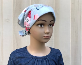 Children's Flannel Head Scarf, Girl's Cancer Headwear, Chemo Hat, Alopecia Head Cover, Head Wrap, Cancer Gift, Hair Loss Gift, Blue Puppies