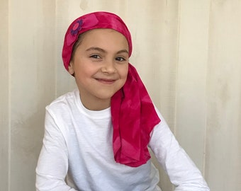 Child's Pre-Tied Head Scarf, Girl's Chemo Hat, Cancer Head Cover, Alopecia Headwear, Head Wrap, Cancer Gift, Hair Loss, Pink Tie Dye Bow
