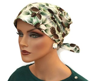 Women's Surgical Scrub Cap, Scrub Hat, Cancer Head Scarf, Chemo Headwear, Alopecia Head Cover, Head Wrap, Cancer Gift, Hair Loss, Pinecones