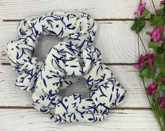 Silky Hair Scrunchie, Birthday Gift For Daughter, White And Blue Hair Tie Bracelet