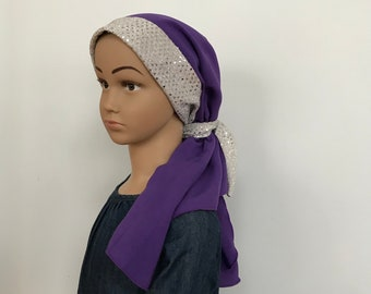Child's Pre-Tied Head Scarf, Girl's Chemo Hat, Cancer Head Cover, Alopecia Headwear, Cancer Gift, Hair Loss, Purple Silver Sparkles