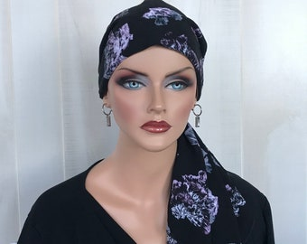 Pre-Tied Head Scarf For Women With Hair Loss. Cancer Headwear, Chemo Hat, Alopecia Head Cover, Hair Wrap, Head Wrap, Turban, Black Floral