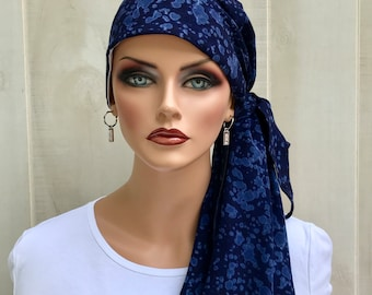 Pre-Tied Tie Dye Head Scarf For Women With Hair Loss, Cancer Gifts, Gift For Mom, Navy Blue Head Wrap