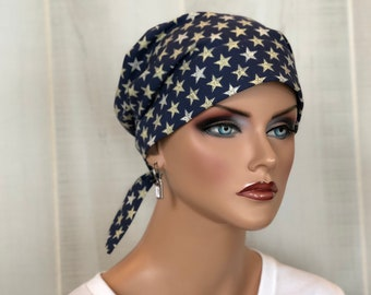 Scrub Caps For Women, Nurse Gift, Surgical Cap, Scrub Hats, Chemo Headwear, Headcoverings, Alopecia, Hair Wrap, Head Scarf, Patriotic, Stars