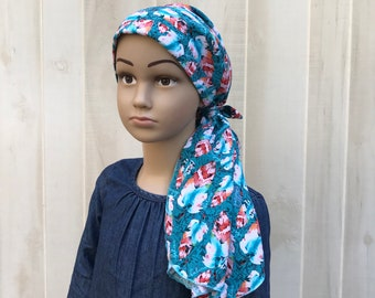 Pre-Tied Head Scarf, Childhood Cancer, Ages 5 - 11, Chemo Headwear, Cancer Gifts, Blue Feathers