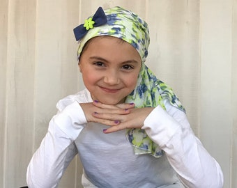 Child's Pre-Tied Head Scarf, Girl's Chemo Hat, Cancer Head Cover, Alopecia Headwear, Head Wrap, Cancer Gift, Hair Loss, Blue Green Tie Dye