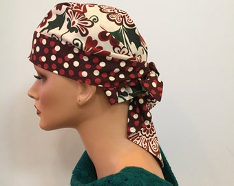 Hailey's Doo Rag - Holiday Magic - a Reversible Bandana, Hat, Scarf, head cover for women with hair loss, cancer, chemo, alopecia.