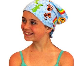 Children's Flannel Head Scarf, Girl's Cancer Headwear, Chemo Hat, Alopecia Head Cover, Head Wrap, Cancer Gift, Hair Loss, Noah's Ark