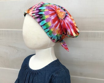 Children's Head Scarf, Girl's Chemo Hat, Cancer Headwear, Alopecia Head Cover, Head Wrap, Cancer Gift for Hair Loss, Chemotherapy, Tie Dye