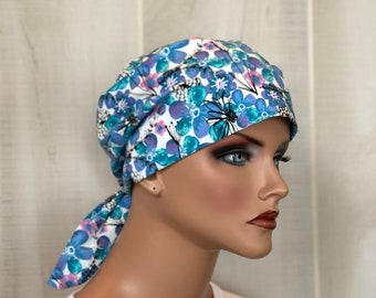 Scrub Caps For Women, Nurse Gift, Scrub Hats, Purple Pink Floral
