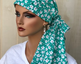 Pre-Tied Head Scarf For Women With Hair Loss. Cancer Headwear, Chemo Hat, Alopecia Head Cover, Hair Wrap, Head Wrap, Turban, Green Floral