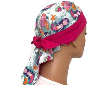 Jenna's Doo Rag - A Reversible Bandana,  Chemo Hat, Cancer Headwear, Scarf, Head Cover, Hair Loss, Cancer Gift, Pink Mermaids