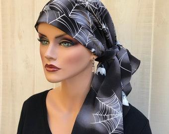 Pre-Tied Head Scarf For Women With Hair Loss. Cancer Headwear, Chemo Hat, Alopecia Head Cover, Hair Wrap, Head Wrap, Turban, Spiders Skulls
