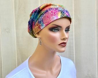 Women's Surgical Scrub Cap, Scrub Hat, Cancer Head Scarf, Chemo Headwear, Alopecia Head Cover, Head Wrap, Rainbow Tie Dye Batik