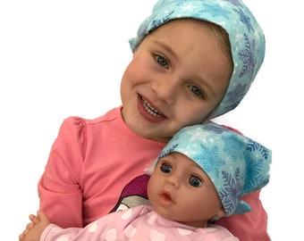 Twin Head Scarves, Jaye Flannel Child Head Scarf, Matching Shiri Doll Hat, Cancer Gift, Chemo, Cancer, Alopecia, Hair loss, Blue Snowflakes