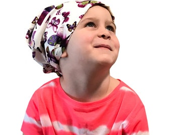 Mia Children's Head Scarf, Girl's Chemo Hat, Cancer Head Cover, Alopecia Headwear, Head Wrap, Cancer Gift for Hair Loss, Purple Butterflies