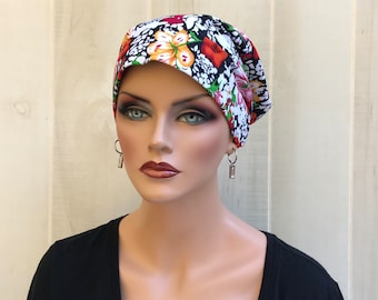 Head Scarf For Women With Hair Loss. Cancer Headwear, Chemo Hat, Alopecia Head Wrap, Hair Wrap, Head Cover, Turban,  Autumn Flowers