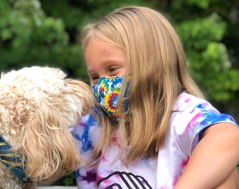 Washable Face Mask, Ages 5 - 12, Adjustable Elastic, Reusable Face Covering, Child Sizes, Tie Dye Paws And Bones