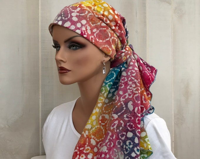 Featured listing image: Pre-Tied Head Scarf For Women With Hair Loss. Cancer Headwear, Chemo Head Cover, Alopecia Hat, Head Wrap, Turban, Cancer Gift, Pink Tie Dye