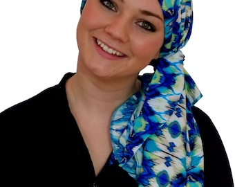 Pre-Tied Head Scarf, Women's Cancer Headwear, Chemo Head Cover, Alopecia Hat, Head Wrap, Hair Loss, Cancer Gift, Chemo Gift, Blue Aztec