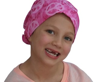 Mia Children's Head Cover, Girl's Cancer Headwear, Chemo Scarf, Alopecia Hat, Head Wrap, Cancer Gift for Hair Loss - Pink Camo