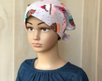Children's Flannel Head Scarf, Girl's Cancer Hat, Chemo Headwear, Alopecia Head Cover, Head Wrap, Cancer Gift, Hair Loss,  Gray Cupcakes
