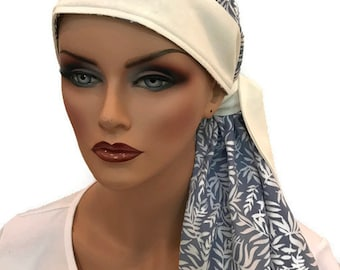 Carlee Pre-Tied Head Scarf - A Women's Cancer Headwear, Chemo Scarf, Alopecia Hat, Head Wrap, Head Cover for Hair Loss Light Blue Ferns
