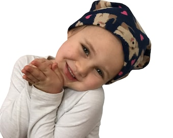 Jaye Children's Flannel Head Scarf, Girl's Cancer Hat, Chemo Head Cover, Alopecia Hat, Head Wrap, Cancer Gift, Hair Loss, Navy Puppies