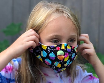 Washable Face Mask, Ages 5 - 12, Adjustable Elastic, Reusable Face Covering, Child Sizes, Cupcakes