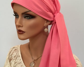 Pre-Tied Head Scarf, Women's Cancer Headwear, Chemo Head Cover, Alopecia Hat, Head Wrap, Hair Loss Gift, Cancer Gift, Chemo Gift, Rose Gold