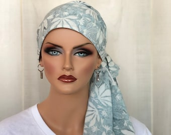 Pre-Tied Head Scarf For Women With Hair Loss, Cancer Gifts, Chemo Headwear, Sage Green Floral