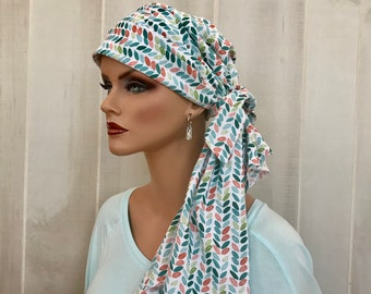 Pre-Tied Head Scarf For Women With Hair Loss. Cancer Headwear, Chemo Head Cover, Alopecia Hat, Head Wrap, Turban, Cancer Gift, Teal Feathers