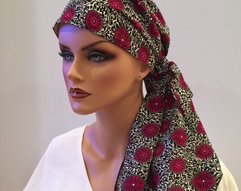 Jessica Pre-Tied Head Scarf, Women's Cancer Headwear, Chemo Scarf, Alopecia Hat, Head Wrap, Head Cover for Hair Loss - Wine Medallion