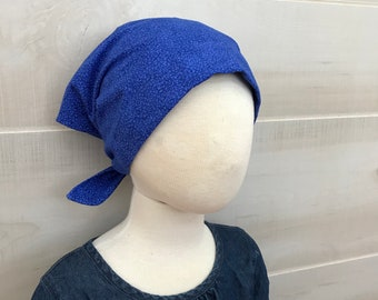 Children's Head Scarf, Girl's Chemo Hat, Cancer Headwear, Alopecia Head Cover, Head Wrap, Cancer Gift for Hair Loss Gift, Chemo Gift, Blue