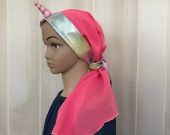 Child's Pre-Tied Head Scarf, Girl's Chemo Hat, Cancer Head Cover, Alopecia Headwear, Cancer Gift, Hair Loss, Unicorn Pink Rainbow Sparkles