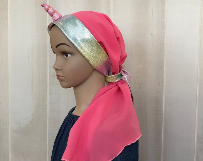 Featured listing image: Child's Pre-Tied Head Scarf, Girl's Chemo Hat, Cancer Head Cover, Alopecia Headwear, Cancer Gift, Hair Loss, Unicorn Pink Rainbow Sparkles