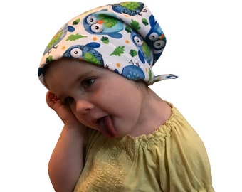 Jaye Children's Flannel Head Scarf, Girl's Chemo Hat, Cancer Head Cover, Alopecia Hat, Head Wrap, Cancer Gift, Hair Loss, Blue Owls